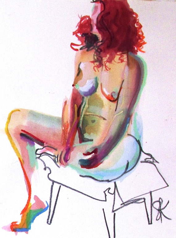 Nude painting- Original watercolor painting of Nude #1519 by Gretchen Kelly