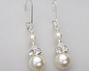 Pearl Earrings, Bridal Drop Earrings, White or Ivory Pearl Jewelry, Crystal and Pearl Earrings, Wedding Jewelry for the Bride