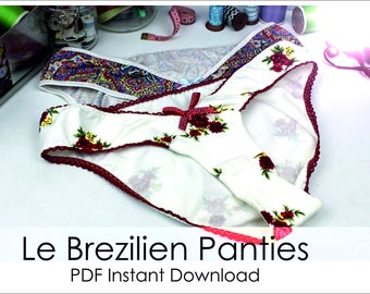 Le Brezilien - Panties - PDF Pattern Sizes U.K. 8- 20 U.S.A. 4 - 16 and E.U. 36-48 With Detailed Sew Along Guide - Make At Home Today.