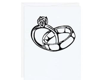 Linked Wedding Rings -- Handprinted White Card