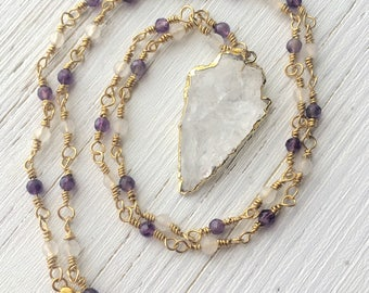 Amethyst and rose quartz necklace