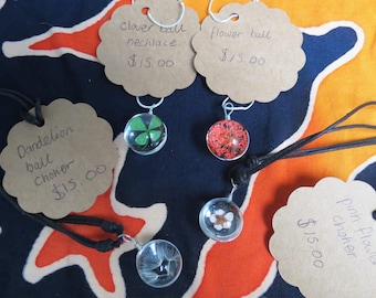 Nature glass ball necklaces