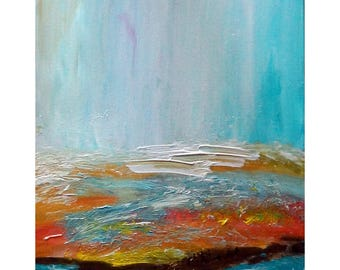 Beach Ocean Sand Abstract Minimalist Canvas, Landscape Painting Original Art turquoise, blue, brown, rust, orange, red