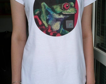 Frog Printed Art White Cotton T-shirt