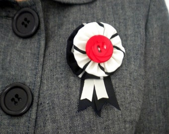 Rosette brooch - red, white and blue