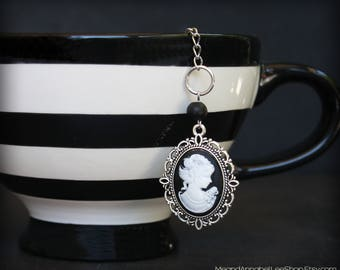 Victorian Cameo Tea Ball Infuser - Black & White - Gothic Goth Steampunk - Tea Accessory for Loose Leaf Tea