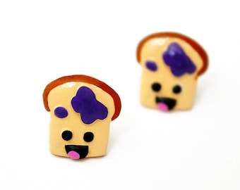 Happy Toast Stud Earrings // Breakfast // Kawaii Food Studs