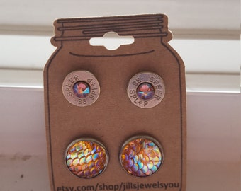 Bullet Earrings Set, 38 Special Bullet Earrings and Mermaid Scale Earring Set, 2nd Amendment Jewelry, Christmas Present, Bullet Jewelry