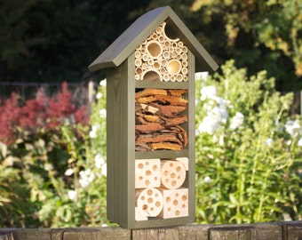 Mason Bee House, Insect Hotel, Bug Box three tier, in 'Old English Green'. Can be personalised.