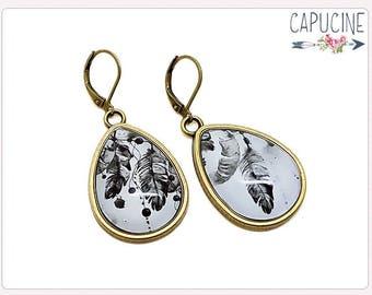 Dreamcatcher drop earrings - Drop earrings with Glass dome feathers