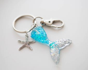 Mermaid Tail Key Chain - Glitter Mermaid Tail Key Ring - Sparkle Resin Mermaid Key Fob - Ocean Sea Lover Mermaid Gift Swimmer Beach Nautical
