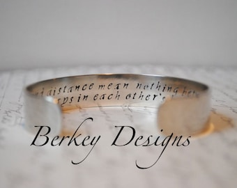 Keepsake Sterling Time and Distance Mean Nothing Between Sisters Custom Hand Stamped Cuff Bracelet. Secret Message