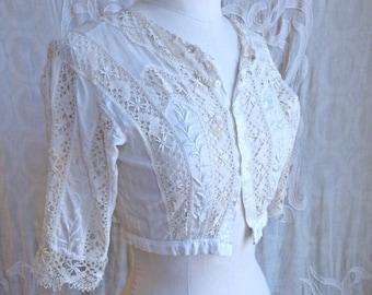 Edwardian White Cotton Blouse