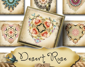 DESERT ROSE•1x1 Square Heart Images•Printable Digital Images•Cards•Gift Tags•Stickers•Magnets•Digital Collage Sheet