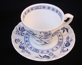 J & G Meakin | Blue Nordic | Tea Cup and Saucer | Teacup and Saucer | Three available