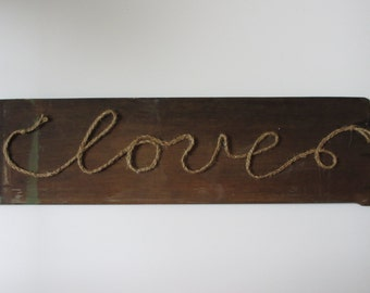 Gifts for Him Reclaimed Wood Sign Love Wall Art Engagement Gift Wedding Gift Anniversary Gift Rustic Sign