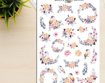 Watercolour Birds And Flowers Planner Stickers | Watercolour Flowers | Watercolour Birds | Floral Stickers | Bird Stickers (S-246)
