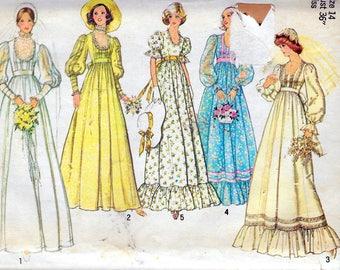 "Vintage 1976 Simplicity 7389 Retro Bridal & Bridesmaids Dress Sewing Pattern Size 14 Bust 36"" UNCUT"