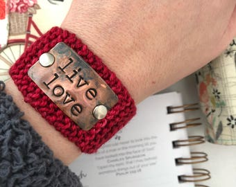 Religious Inspiration Gift for Women, Red Hand Stamped Knit Cuff Bracelet, Love Jewelry