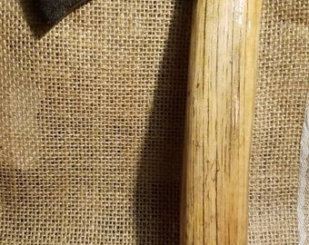Antique 1870's hatchet or belt axe head. Blacksmith made and marked.Local to central Maine. Haft is original, beautiful... and now mounted!