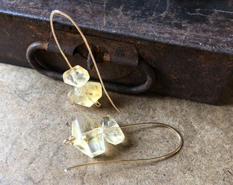 Strength - Citrine and Gold Fill Drop Earrings