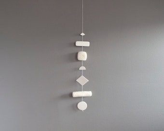 Clay and Felt Marshmallow Mobile/Wallhanging in White