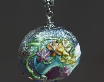 Hollow lampwork glass turquoise floral bead pendant with sterling chain