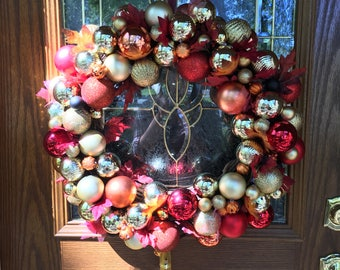 Red and Gold Ornament Wreath-Fall, Christmas, Holidays