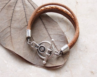 Leather Layer Bracelet - Rustic Geometric Jewelry Leather and Metal