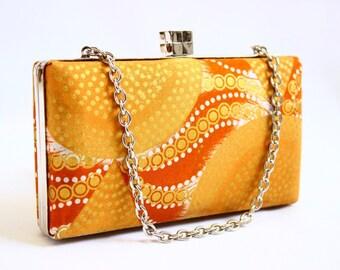 Gold African fabric evening box clutch bag - gold box clutch bag, mustard clutch bag, African fabric marigold box clutch, UK box clutch