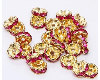 10-pcs-Pearl wave rondelle spacer 8 mm gold metal 8mm fuchsia rhinestones
