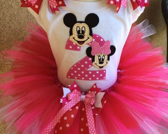 Mickey and Minnie Mouse Birthday Tutu Outfit Dress Set Handmade 1st 2nd 3rd