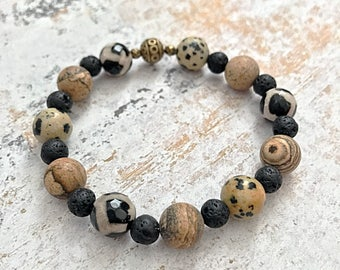 Essential Oil Diffuser Bracelet, Lava Bead Aromatherapy Bracelet, Healing Gemstone Bracelet, Brown and Black