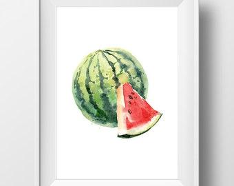 Watercolor Watermelon Art, Watercolor Watermelon Print, Watercolor Fruit  Poster, Fruit Print, Watercolor Kitchen Art, Kitchen Decor, Melon
