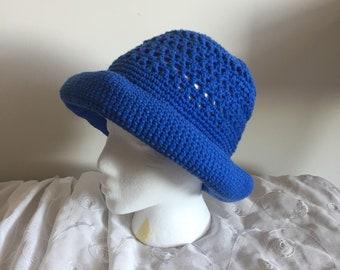Woman's crochet sun hat, womens cloche, hand knit cotton hat, wide brim hat, crochet item, bucket cap for women, gift for her