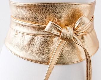 Gold Wide Leather Obi Belt | Wide corset waist Belt | Leather corset belt | Real Leather wrap Belt | Gold Waist Belt | Petite to Plus Size