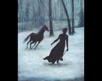 A Winter Tale, Original Painting, Snow, Horse, Forest, Snowstorm, Fairy Tale, Folk Tale, Frost, Ice, Surreal, Black Horse, Black Dress,