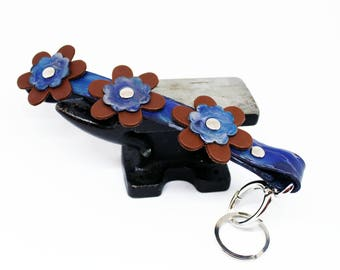 Leather Flower Key Chain - Key Chain - Custom - Made To Order - Purple Marble & Brown Leather - Epona Leatherworks