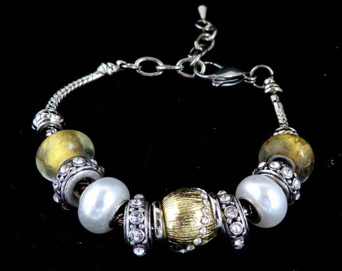 Sliding Bead Bracelet, Vintage Boho Jewelry, Rhinestone, Faux Pearls, Gold & Silver Tone Beads, Gypsy Bracelet