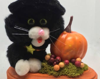 Halloween Black Cat with Pumpkin and berries shelf ornament / pom poms