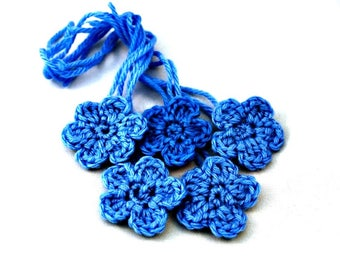 Blue Flower Appliques  Crocheted Flowers Set of 5