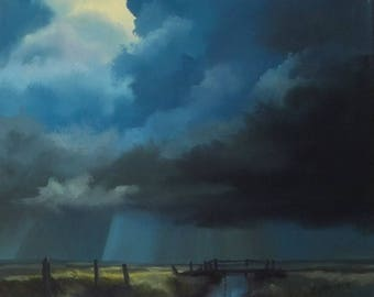 storm on the flats, original oil painting