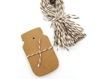 24 Blank Kraft Mason Jar Hang Tag (2-1/4 x 1-1/4 inches) with 24 feet of Baker's Twine in your choice of Color