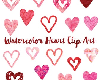 Watercolor Heart Clipart, Heart Icon Clip Art Set, Wedding Watercolor Hearts, Love Clipart, Pink Hearts
