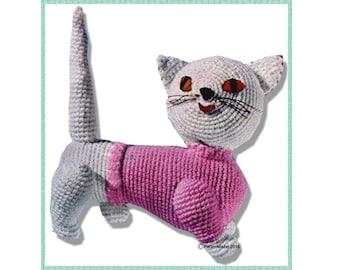 Kitty Crochet Pattern, Kitten Crochet Pattern, Cat Crochet Pattern.....1950's Vintage Toy Pattern ...sweater......Instant Download PDF
