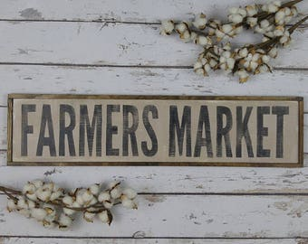 Farmers Market Sign, Farmhouse Decor, Farmhouse Kitchen, Farmhouse Signs, Wooden Sign, Custom Wood Sign, Kitchen Sign, Framed Wood Sign