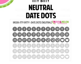 Itty Bitty Neutral Date Dot Stickers | 2 Colors | 72 Kiss Cut Stickers | .25 inch | Small Planners, Inserts | IB039