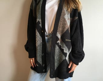 Oversized sweater button up XL knit cardigan 80s Leo Chevalier 80s/90s print