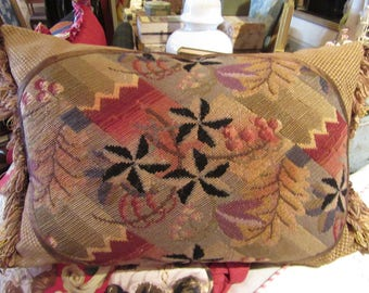 """15"""" x 22""""  Antique Needlepoint With a Leafy and Cherry Design"""