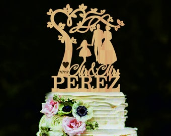Silhouette cake topper with tree Mr Mrs Custom name wedding cake topper Bride and Groom with girl Couple cake topper for wedding